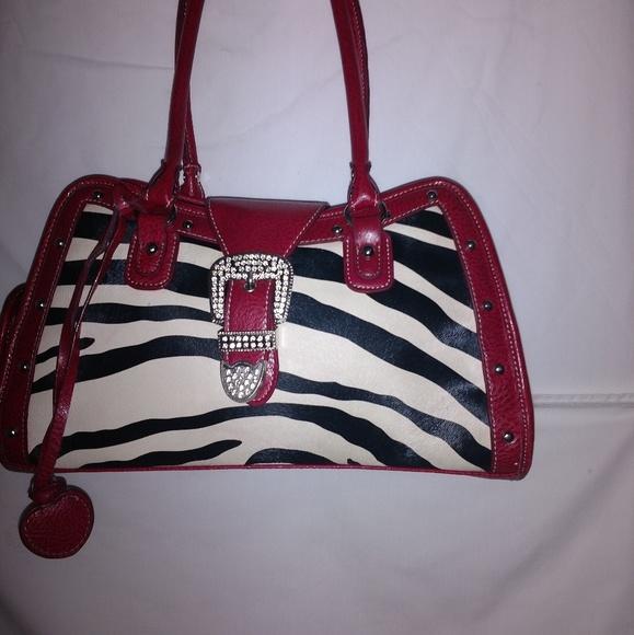 Bags Black And White Zebra Print Purse With Red Trim Poshmark